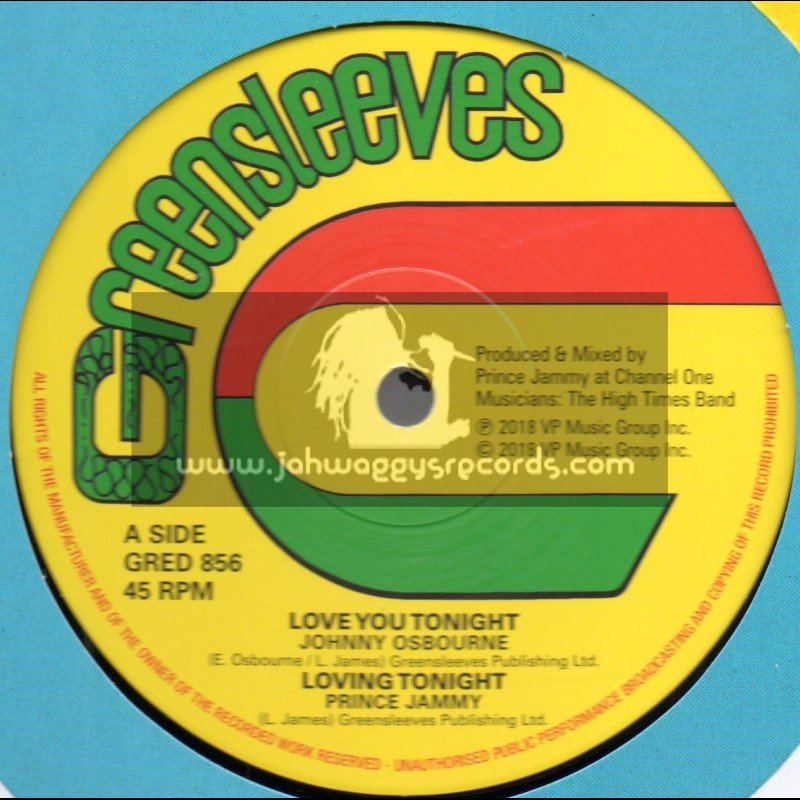 """Greensleeves Records-12""""-Love You Tonight / Johnny Osbourne + Purify Your Heart / Johnny Osbourne"""