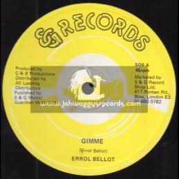 "S & G Records-12""-Gimme / Errol Bellot - Orange transparent vinyl  - Babylon Walls Version"