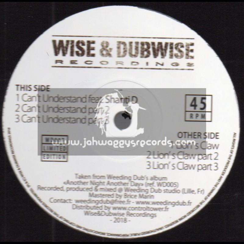 """Wise & Dubwise Recordings-12""""-Can't Understand / Weeding Dub feat. Shanti D + Lion's Claw / Weeding Dub"""
