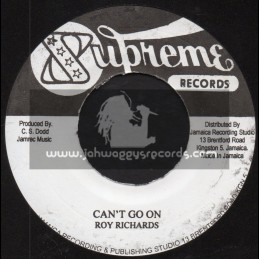 """Supreme Records-7""""-Cant Go On / Roy Richards + Peenie Wallie / Jackie Mittoo"""
