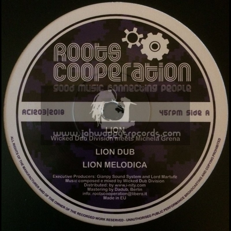 """Roots Cooperation-12""""-Lion / Wicked Dub Division Meets Michela Grena + Deliver Me / Wicked Dub Division Meets Mannaro Man"""