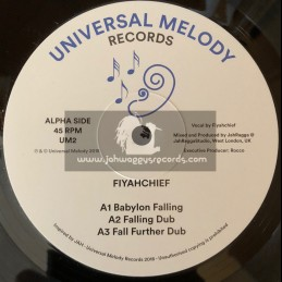 """Universal Melody Records-12""""-Babylon Is Falling / Fiyachief + Conqueror / Siriana T Meets Doctor Lond"""