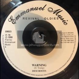 "Emmanuel Music-7""-Warning / Desi Roots"
