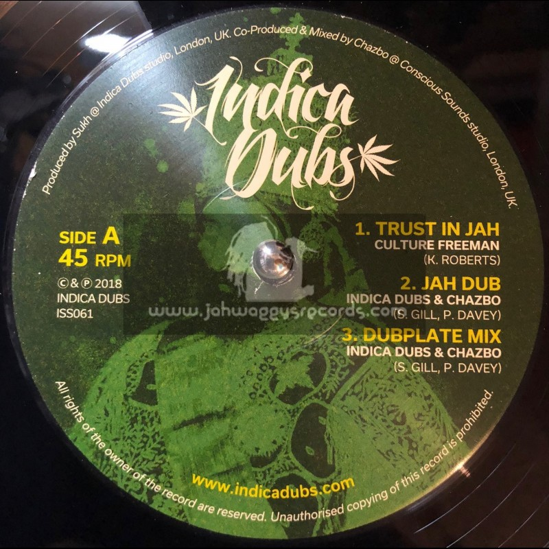 """Indica Dubs-12""""-Trust In Jah / Culture Freeman + Innocent Blood / Indica Dubs & Chazbo"""