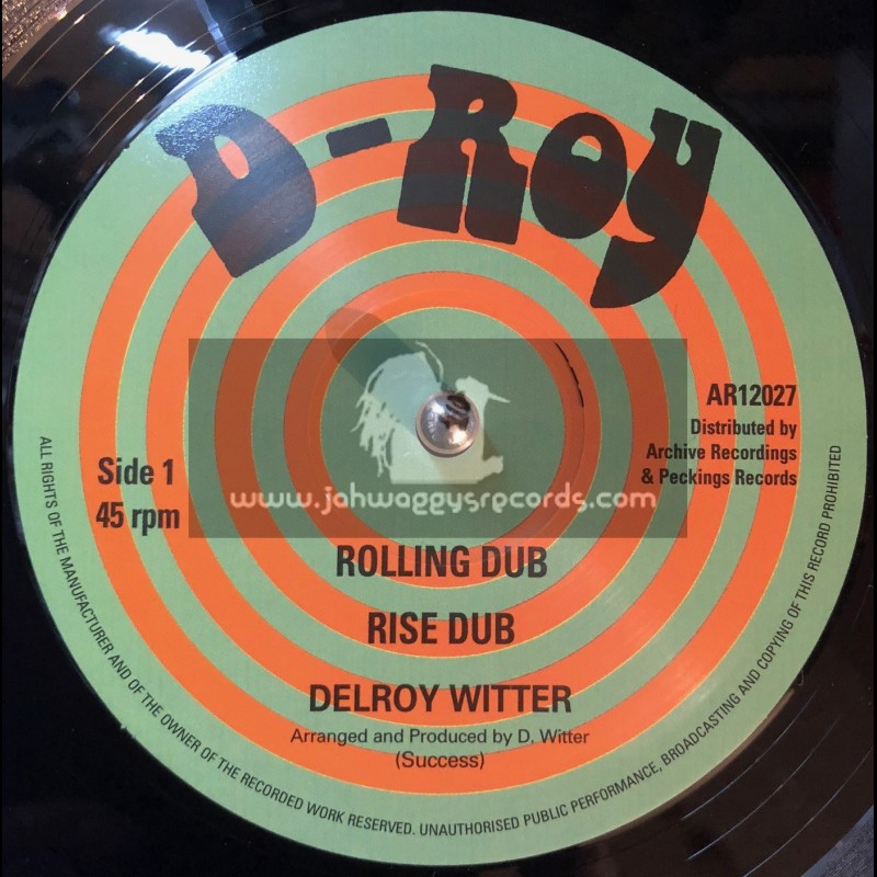 """D-Roy Records -12""""-Rolling Dub & Rise Dub / Delroy Witter + Augustus Dub & Talk It Out Dub / Paul & Delroy"""