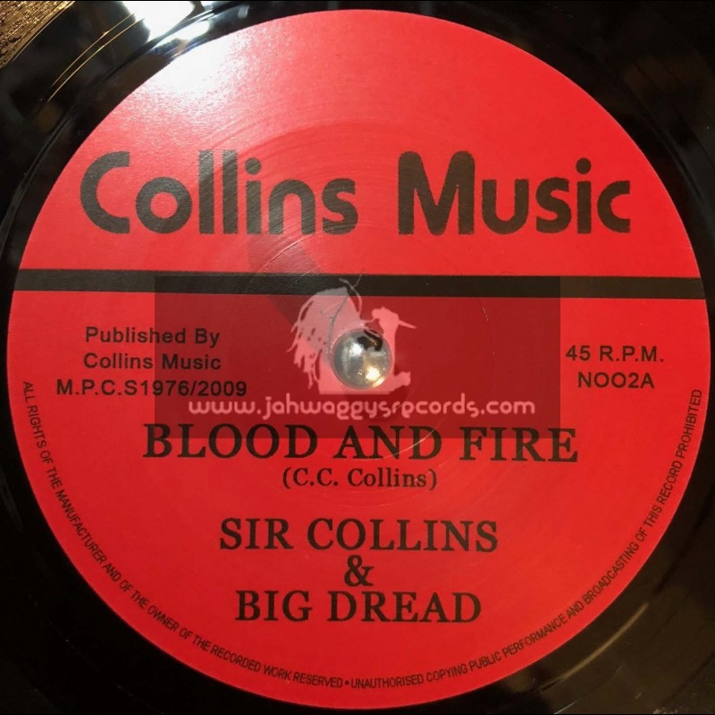 """Collins Music -7""""-Blood And Fire /  Sir Collins & Big Dread + Africa / Unity Stars"""