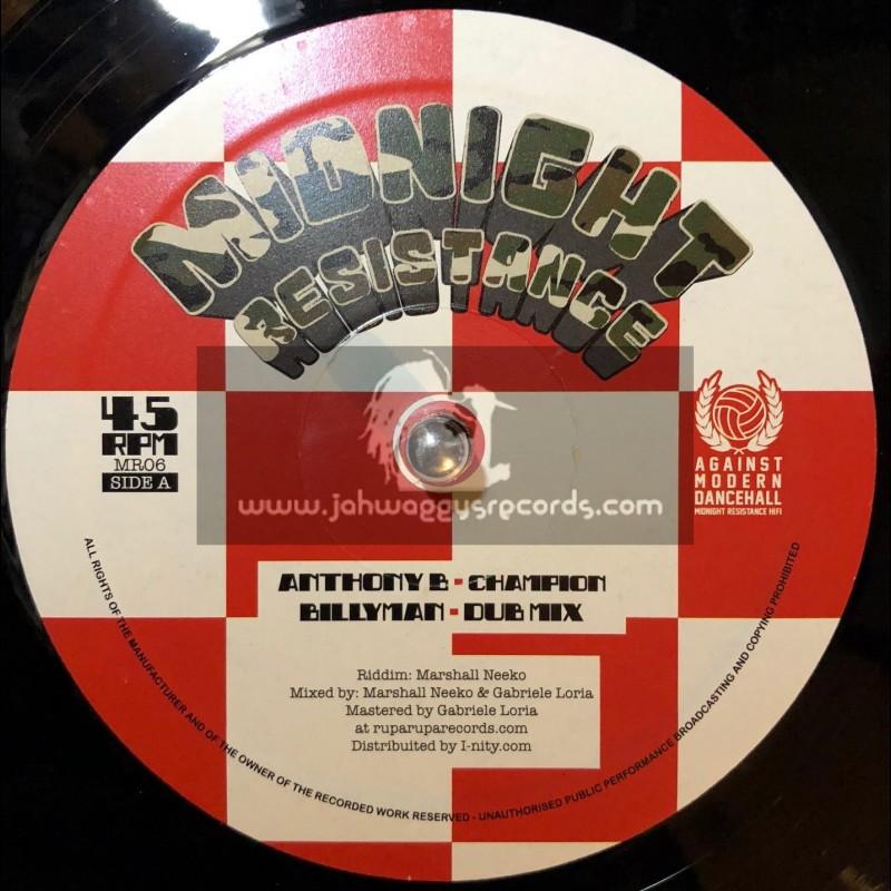 "Midnight Resistance-12""-Champion / Anthony B + Mr Landlord / Tonto Addi"
