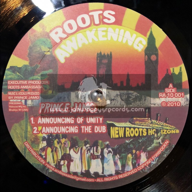 """Roots Awakening-10""""-Announcing Of Unity / Prince Jamo + Hoffin Inventor / Prince Jamo"""