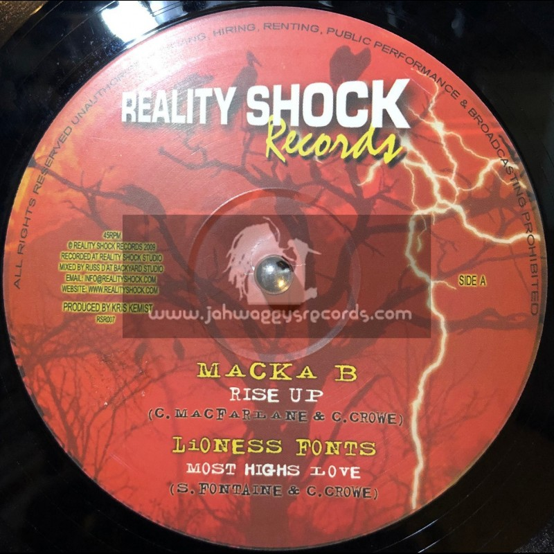 """REALITY SHOCK RECORDS-10""""-RISE UP/MACKA B+MOST HIGHS LOVE/LIONESS FONTS+WANT TO GO HOME/SOLO BANTON"""