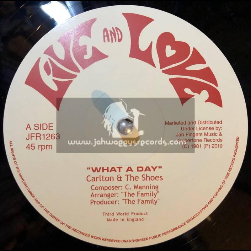 """Live And Love-Jah Fingers-12""""-What A Day / Carlton & The Shoes"""
