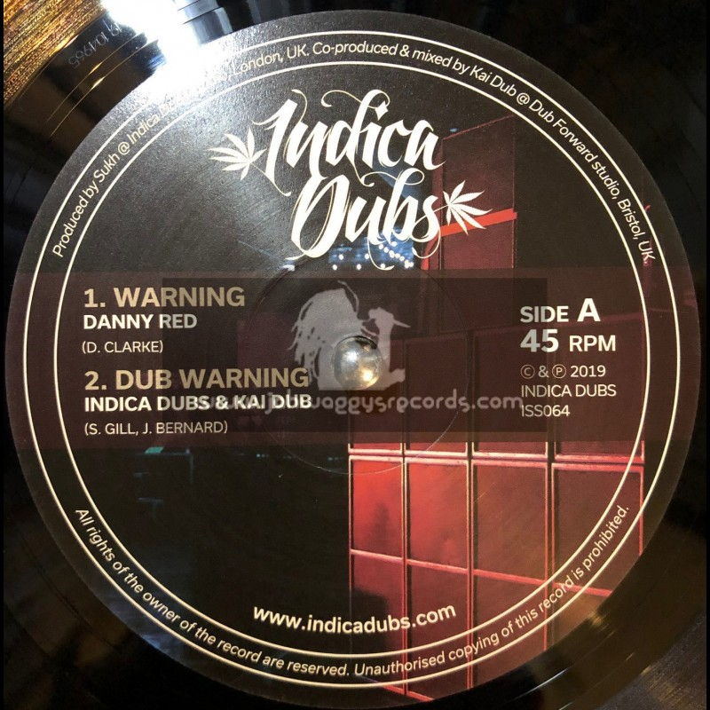 """Indica Dubs-10""""-Warning / Danny Red + Concrete Jungle / Indica Dubs Meets Kai Dub"""