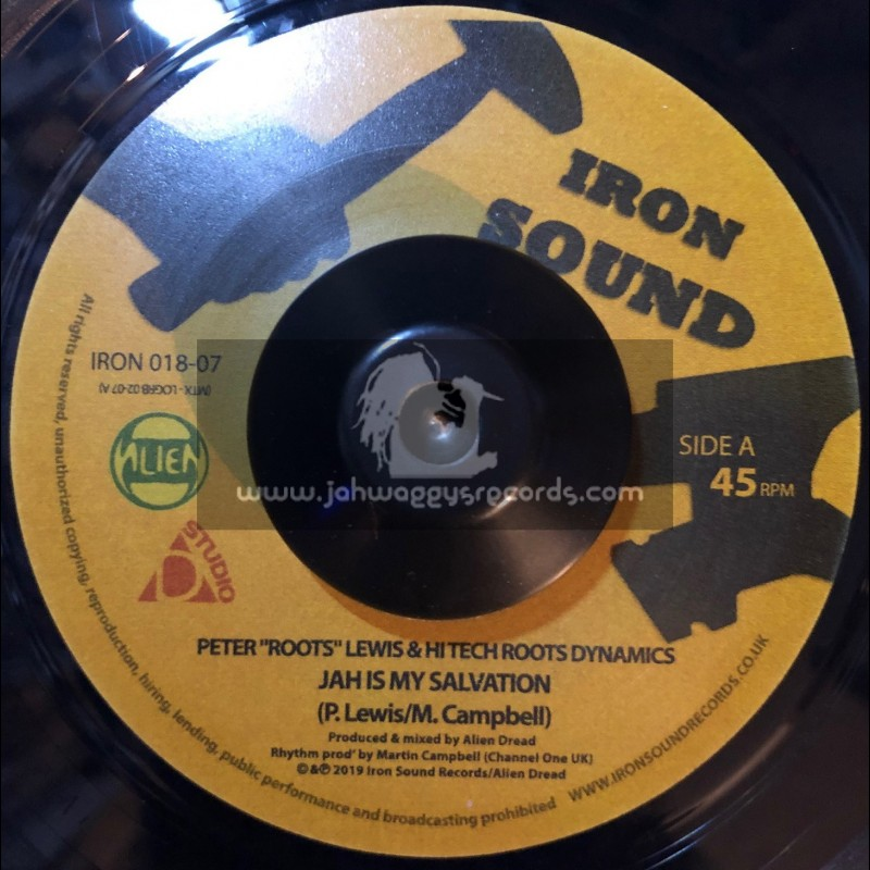 """Iron Sound-7""""-Jah Is My Salvation / Peter Roots Lewis & High Tech Roots Dynamics"""