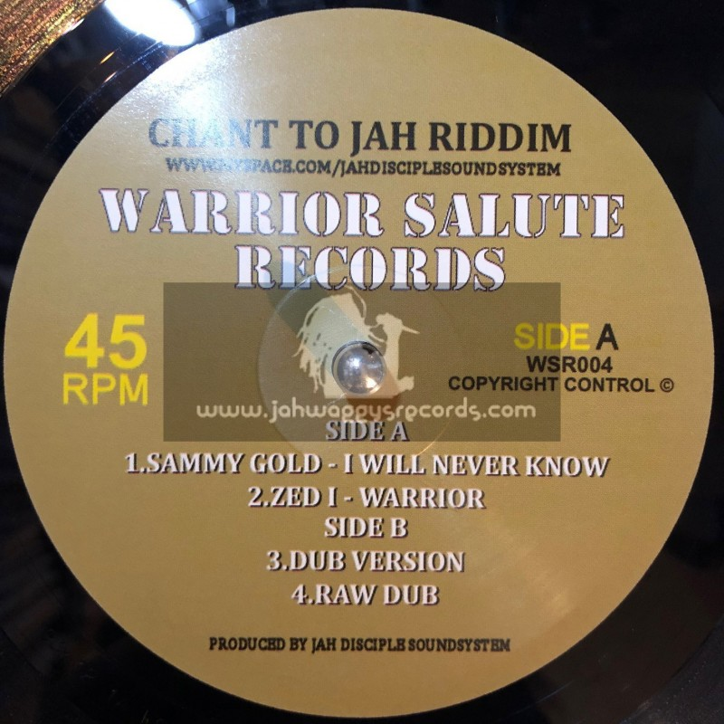 """Warrior Salute Records-10""""-Chant To Jah Riddim Feat. Sammy Gold & Zed I"""
