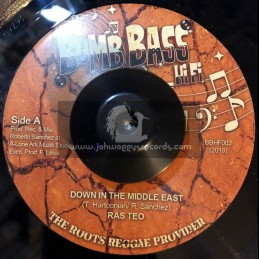 """Bomb Bass Hi Fi-7""""-Down In The Middle East / Ras Teo + Middle East Dub / Lone Ark Riddim Force"""