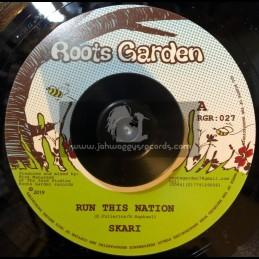 "Roots Garden Records-7""-Run This Nation / Skari + Wrong Hands Dub / Manasseh"