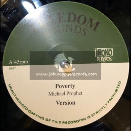 """Freedom Sounds-Iroko Records-12""""-Poverty / Michael Prophet + Wicked Ago Run / Frankie Jones"""