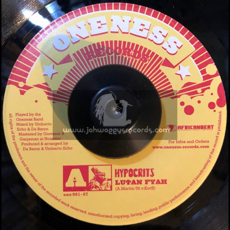 """Oneness Records-7""""-Hypocrits / Lutan Fyah + Tears Of Happiness / Jahcoustix"""