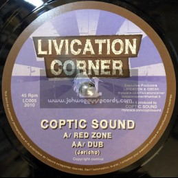 "LIVICATION CORNER-7""-(LIMITED EDITION) RED ZONE - COPTIC SOUND"