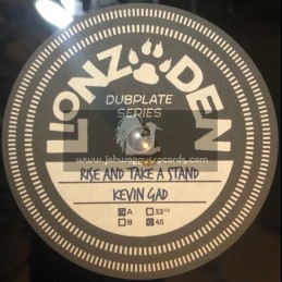 """Lionz Den-10"""" Polyvinyl Dubplate-Rise And Take A Stand / Kevin Gad"""