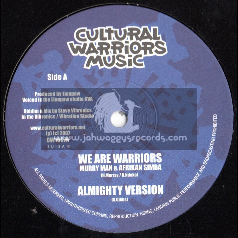"""Cultural Warriors Music-10""""-We Are Warriors/Murry Man & African Simba + Free Your Heart / Tenna Star"""