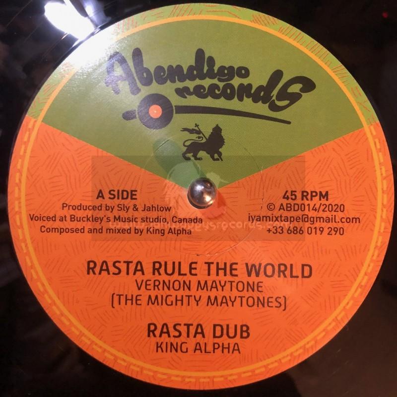 """Abendigo Records-12""""-Rasta Rule The World / Vernon Maytone + Faith Can Move Mountains (Remix) / Prince Alla"""