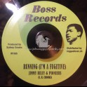 """Boss Records-7""""-Running (I'm A Fugitive) / Jimmy Riley & The Pioneers + In Action / Sydney Crooks All Stars"""