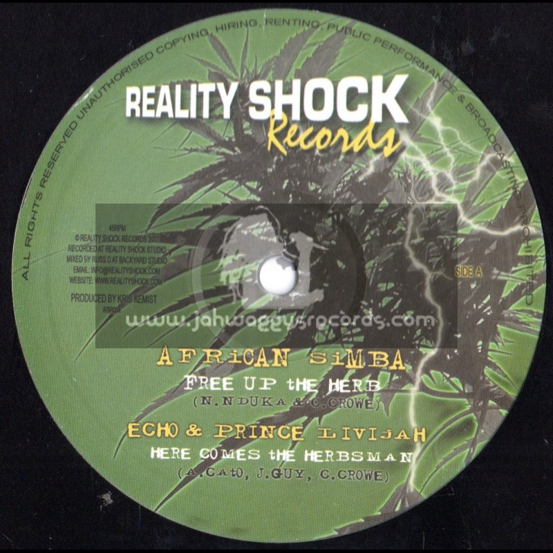 "Reality Shock Records-10""-Free Up The Herbs / African Simba-Prince Livijah-Echo & Marga"