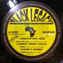 "Black Legacy Records-12""-Breath Inna Man / Nigey Melody + Sweet Sweet Ganja / Trinity + Guns And Bombs / Prince Alla"