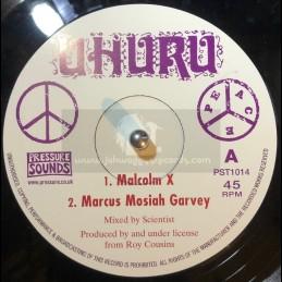 """Uhuru-10""""-Malcolm X + Marcus Mosiah Garvey + Toussaint L Ouverure + Jacques Dessalines"""