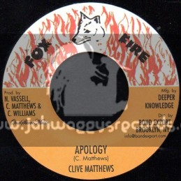 "Fox Fire Records-7""-Apology / Clive Matthews"