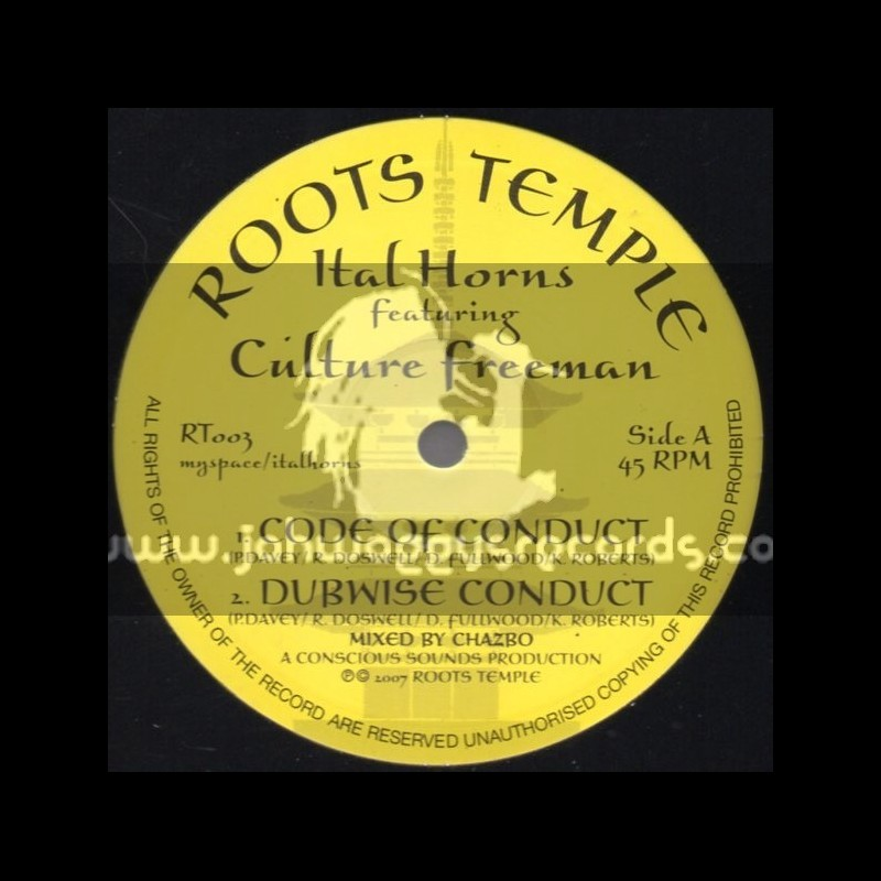 """Roots Temple-10""""-Code Of Conduct / Ital Horns Feat.Culture Freeman"""