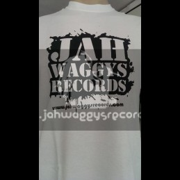 Jah Waggys Records-T Shirts-White With Black Print-GILDAN Premium Cotton Adult T Shirt