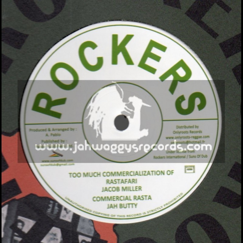 """Rockers-12""""-Too Much Commercialization Of Rastafari/Jacob Miller+Commercial Rasta/Jah Butty-555 Crown Street-Augustus Pablo"""