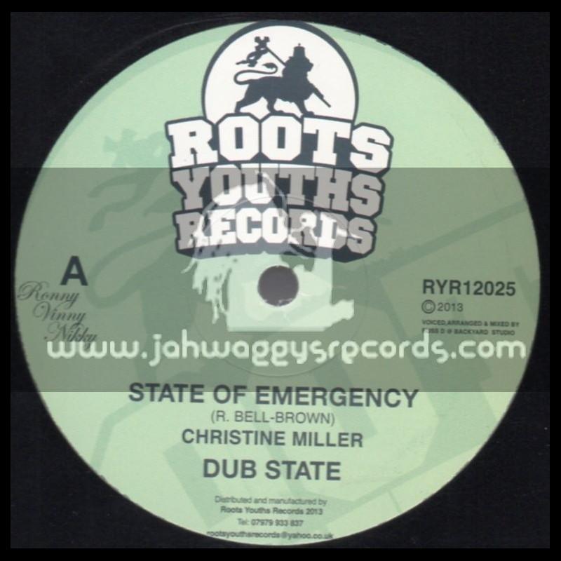 """Roots Youths Records-12""""-State Of Emergency / Christine Miller + War / The Disciples"""