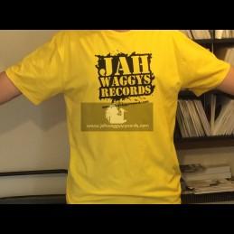 Jah Waggys Records-T Shirts-Yellow With Black Print-GILDAN Premium Cotton Adult T Shirt