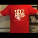 Jah Waggys Records-T Shirts-Red With White Print-GILDAN Premium Cotton Adult T Shirt
