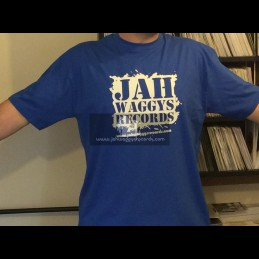 Jah Waggys Records-T Shirts-Blue With White Print-GILDAN Premium Cotton Adult T Shirt