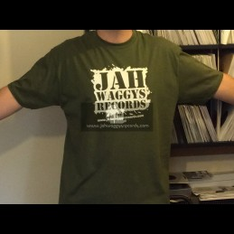 Jah Waggys Records-T Shirts-Military Green With White Print-GILDAN Premium Cotton Adult T Shirt