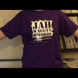 Jah Waggys Records-T Shirts-Purple With White Print-GILDAN Premium Cotton Adult T Shirt