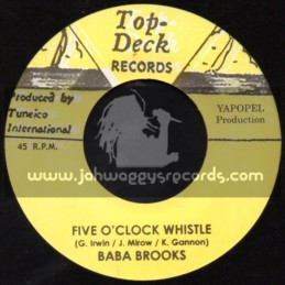 """Top Deck Records-7""""-Five O Clock Whistle / Baba Brooks + Ten Virgins / The Angelic Brothers"""