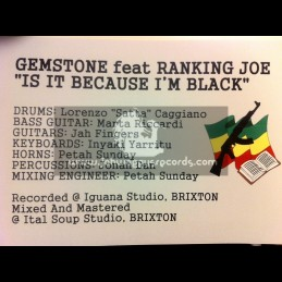 "Jah Fingers-12""-Is It Because I m Black / Gemstone Feat. Ranking Joe"