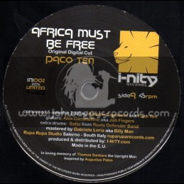 "I-Nity Records-7""-Africa Must Be Free / Paco Ten - Original Digital Cut"
