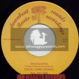 "DOWNBEAT SOUNDS ROOTS RECORDIINGS-7""-BLOOD & FIRE / SOCIAL LIVING SOUNDS FEAT JAH ZEBI"