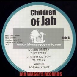 """CHILDREN OF JAH-10""""-GIVE PRAISE / QUEEN OMEGA + DJ PRAISE / JOSEPH COTTON + MY FREIND & MY KING / STEF"""