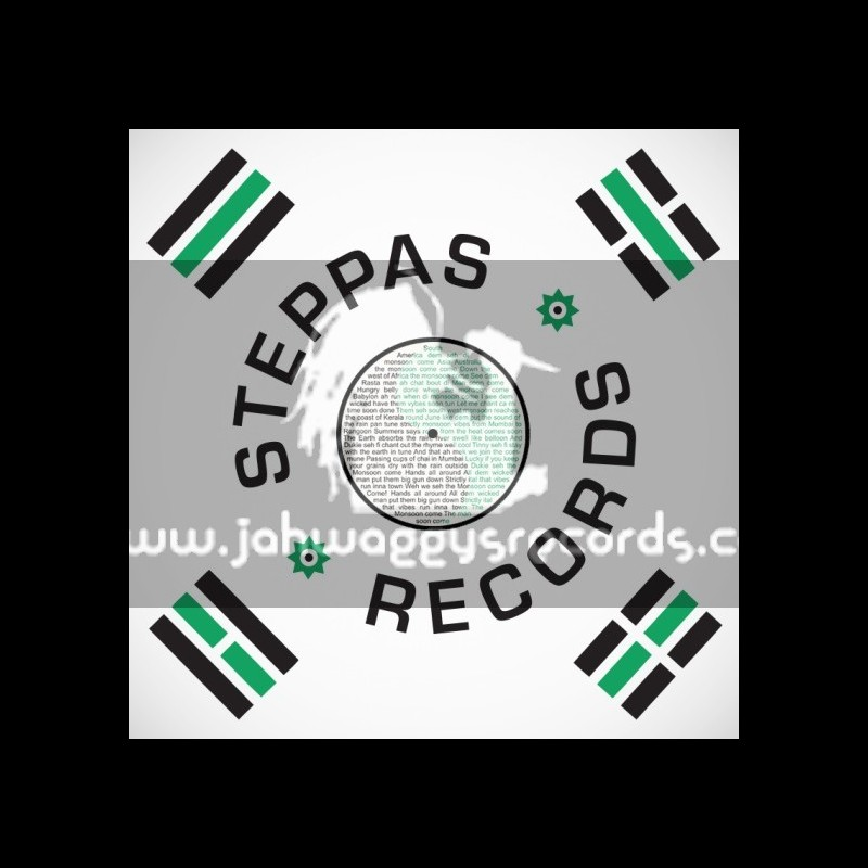 """Steppas Records-12""""-Dub Dynasty – Monsoon Come ft Ras Tinny (Dutty Hands & Cranky General Remix)"""