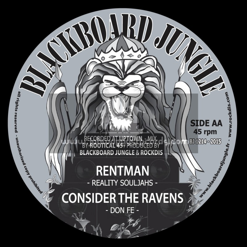 """Blackboard Jungle-12""""-Fight Against The Wicked / Irie Soujah + Rent Man / Reality Souljahs"""