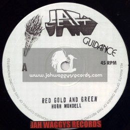 """JAH GUIDANCE-10""""-RED GOLD AND GREEN + RASTA HAVE THE HANDLE / HUGH MUNDELL"""