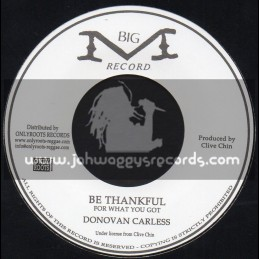 """Big M Record-7""""-Be Thankful For What You Got / Donovan Carless"""