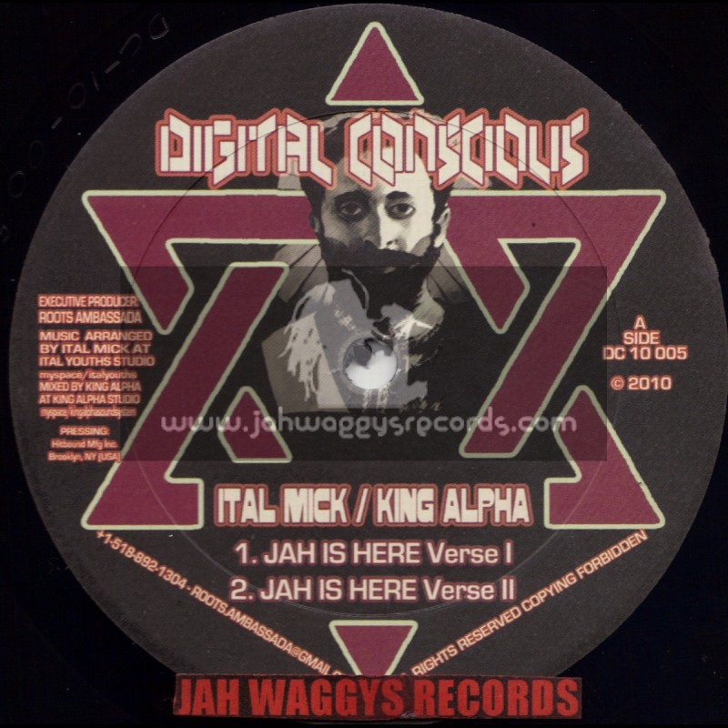"""DIGITAL CONCIOUS-10""""-JAH IS HERE + HAIL THE EMPEROR / ITAL MICK MEETS KING ALPHA"""