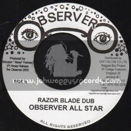 """Observer-7""""-Razor Blade Dub / Observer Allstars + Flint Stone Dub / Observer Allstars"""